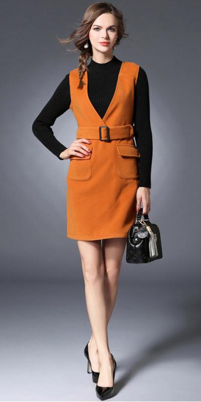 orange-dress-jumper-black-sweater-layer-hairr-braid-black-bag-black-shoe-pumps-fall-winter-lunch.jpg