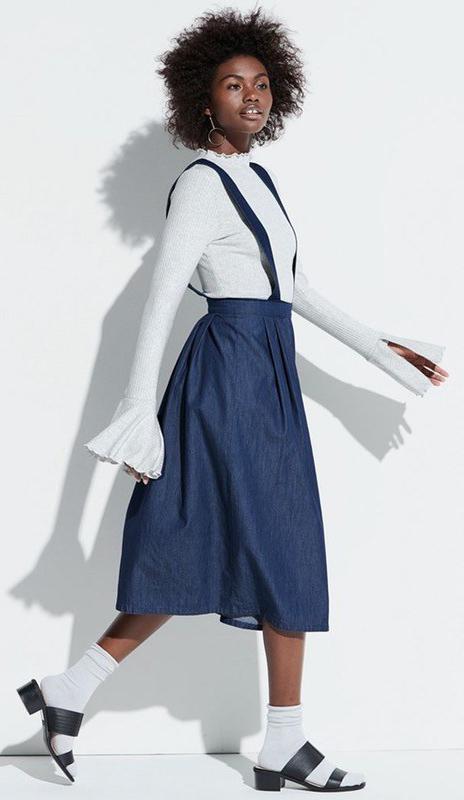 blue-navy-dress-jumper-white-top-blouse-earrings-brun-socks-sandals-layer-fall-winter-lunch.jpeg