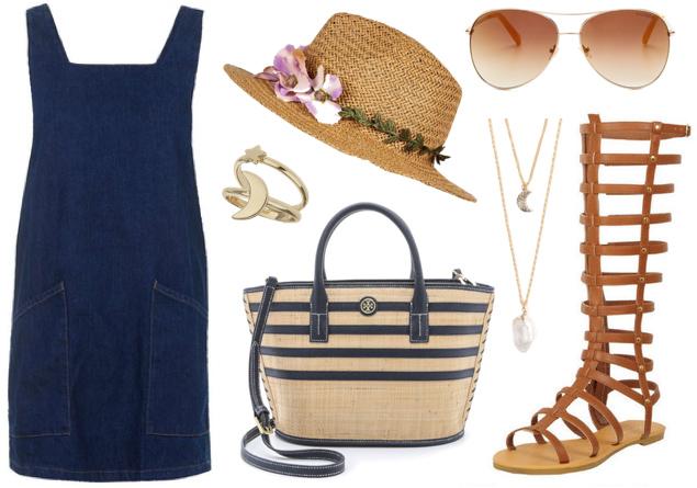 blue-navy-dress-jumper-cognac-shoe-sandals-gladiators-tan-bag-straw-hat-sun-necklace-spring-summer-weekend.jpg