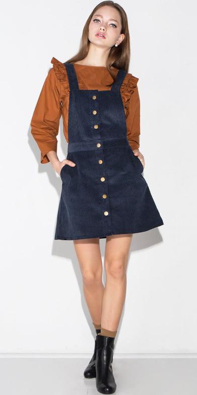 blue-navy-dress-jumper-camel-top-blouse-hairr-black-shoe-booties-socks-fall-winter-lunch.jpg