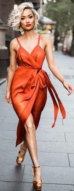 orange-dress-wrap-earrings-blonde-bob-tan-shoe-sandalh-spring-summer-dinner.jpg