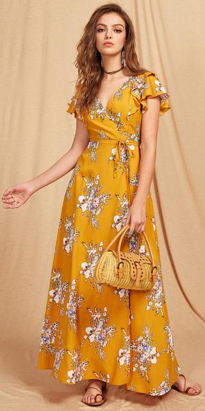 yellow-dress-wrap-maxi-floral-print-choker-tan-bag-hairr-cognac-shoe-sandals-spring-summer-lunch.jpg