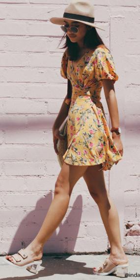 yellow-dress-wrap-floral-print-hat-panama-sun-brun-tan-shoe-sandalh-watch-spring-summer-weekend.jpg