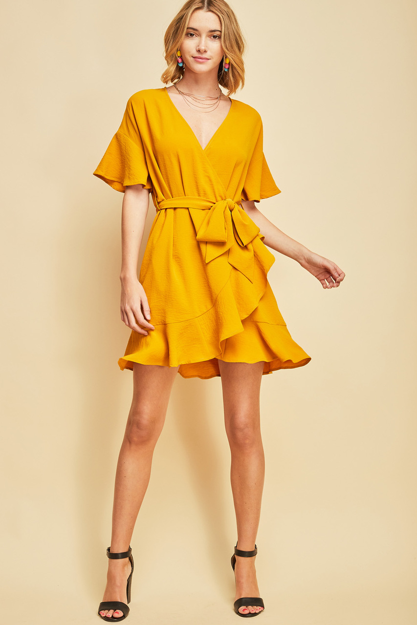 yellow-dress-wrap-black-shoe-sandalh-blonde-lob-spring-summer-dinner.jpg