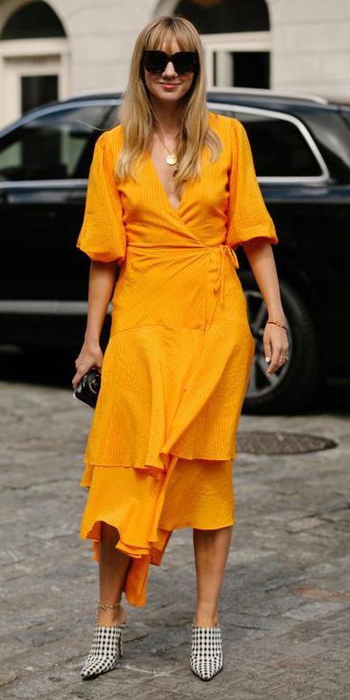 yellow-dress-wrap-midi-blonde-earrings-sun-white-shoe-pumps-spring-summer-lunch.jpg