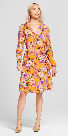 yellow-dress-wrap-floral-print-blonde-tan-shoe-pumps-gold-spring-summer-lunch.jpg