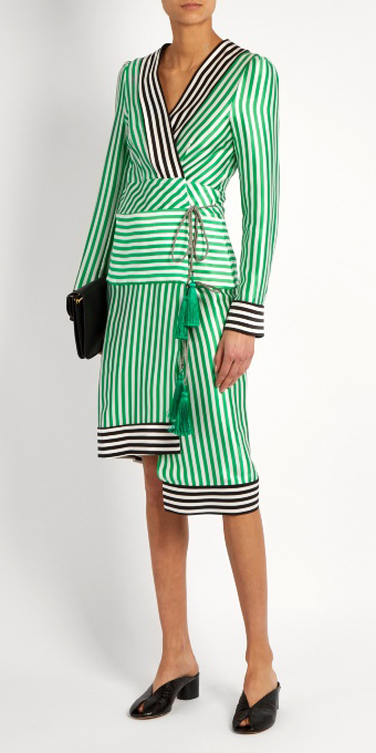 green-emerald-dress-stripe-wrap-black-shoe-sandalh-spring-summer-dinner.jpg