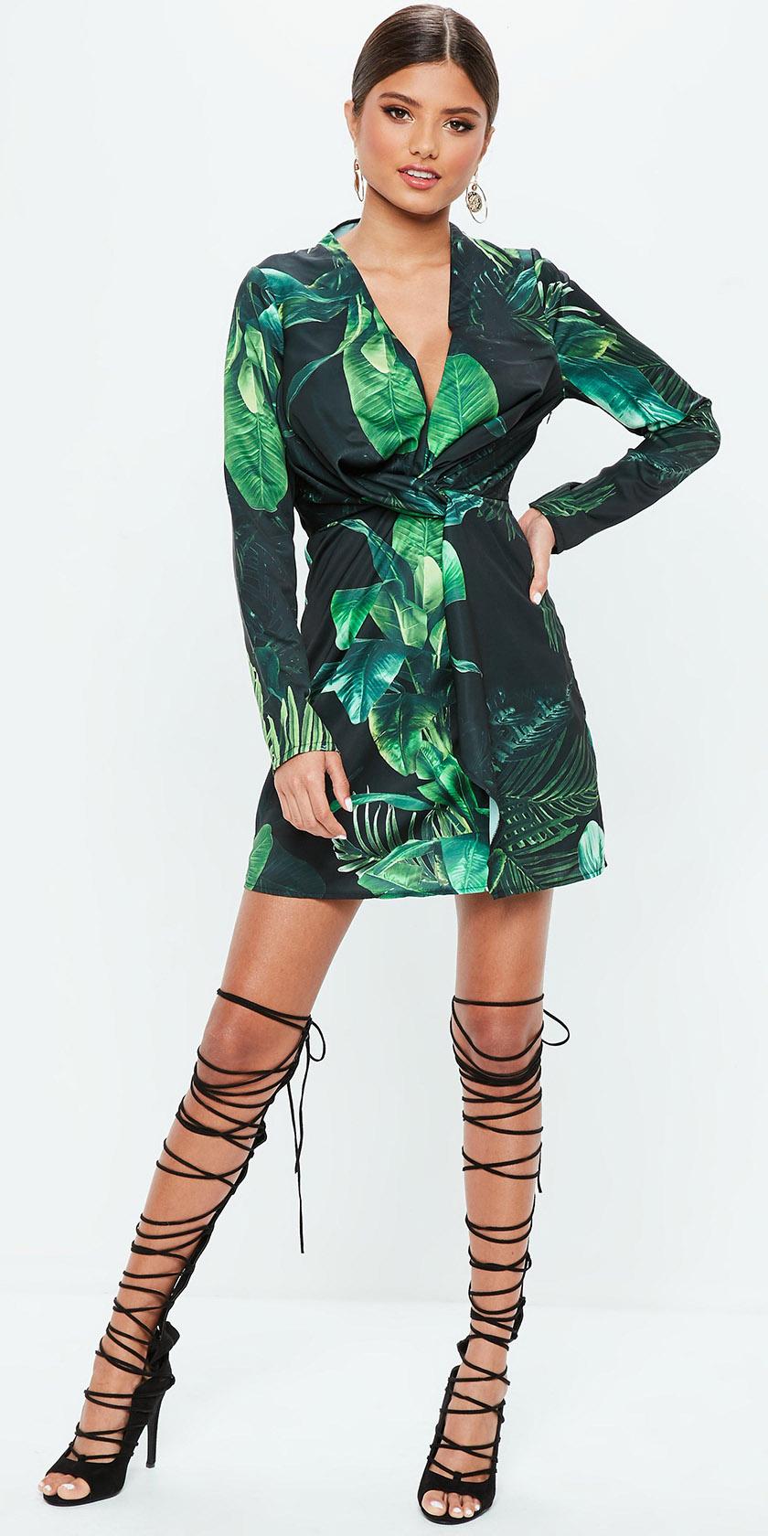 green-emerald-dress-mini-print-wrap-hairr-earrings-bun-black-shoe-sandalh-gladiators-spring-summer-dinner.jpg