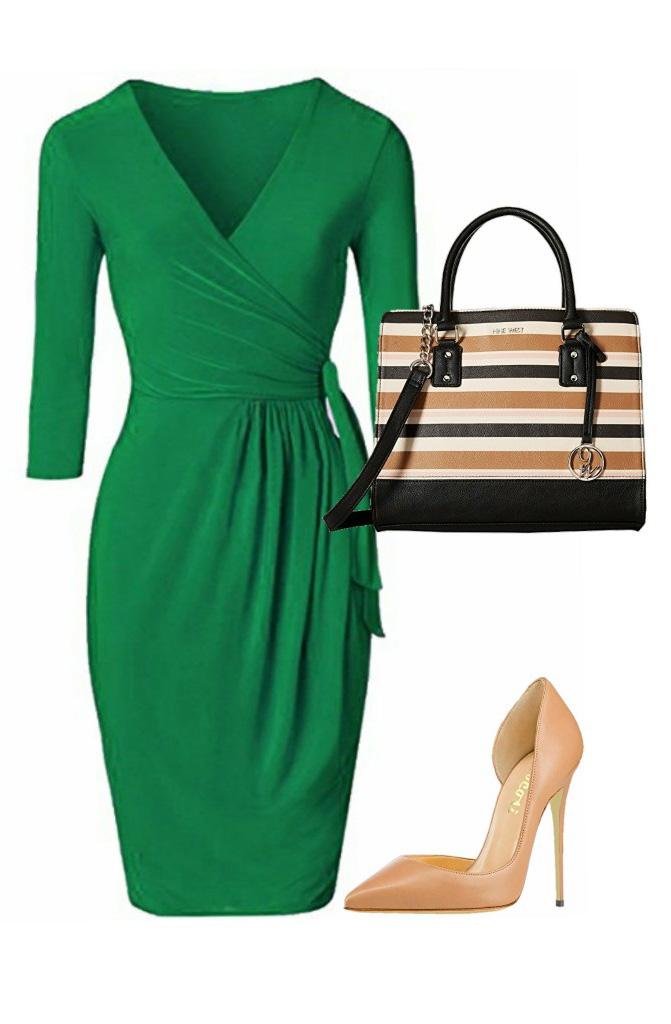 green-emerald-dress-wrap-tan-shoe-pumps-tan-bag-spring-summer-work.jpg