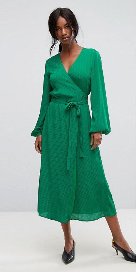 green-emerald-dress-midi-wrap-brun-pony-black-shoe-pumps-fall-winter-lunch.jpg