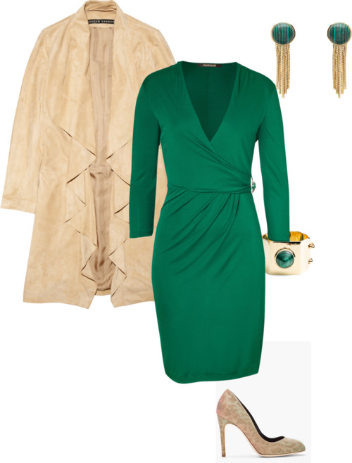 green-emerald-dress-wrap-tan-jacket-coat-bracelet-earrings-tan-shoe-pumps-spring-summer-dinner.jpg
