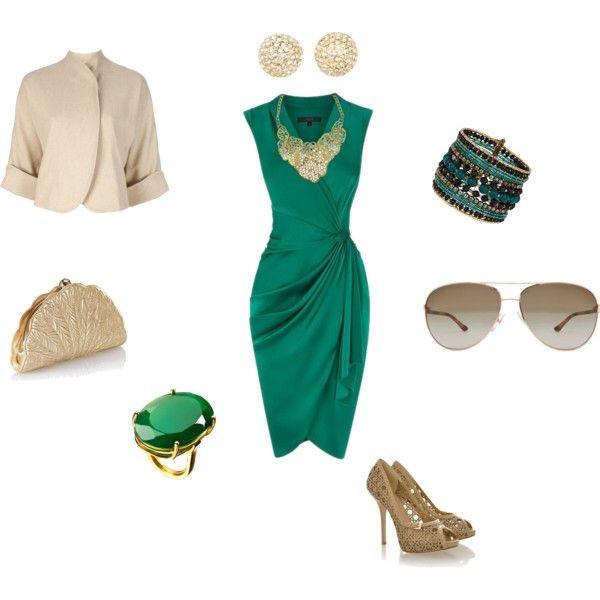green-emerald-dress-wrap-tan-jacket-bib-necklace-ring-studs-tan-shoe-pumps-sun-bracelet-tan-bag-clutch-howtowear-fashion-style-outfit-spring-summer-dinner.jpg