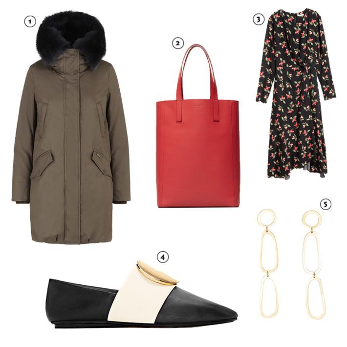 black-dress-wrap-floral-print-red-bag-earrings-black-shoe-flats-green-olive-jacket-coat-parka-fall-winter-weekend.jpg