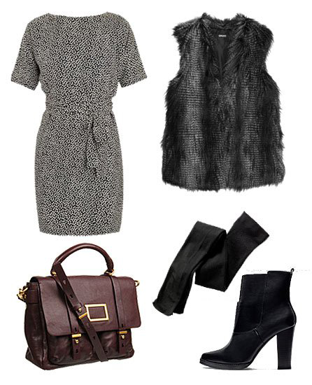 black-dress-mini-wrap-black-tights-black-vest-fur-black-shoe-booties-fall-winter-work.jpg