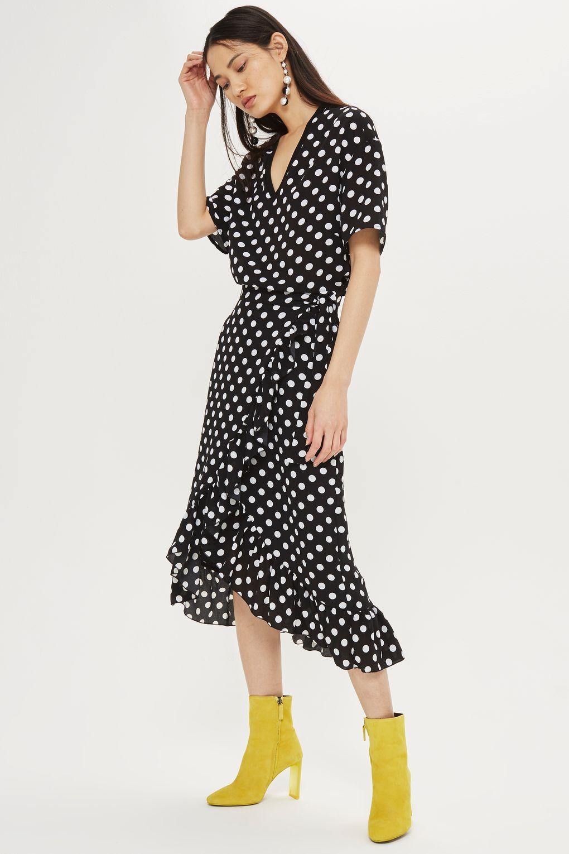 black-dress-wrap-midi-dot-print-white-earrings-brun-yellow-shoe-booties-fall-winter-dinner.jpg