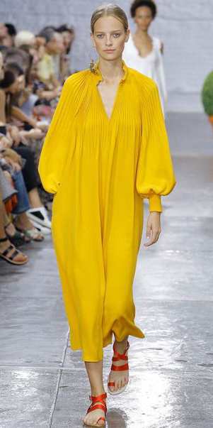 yellow-dress-peasant-blonde-bun-orange-shoe-sandals-runway-spring-summer-weekend.jpg