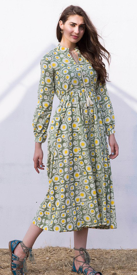 yellow-dress-peasant-print-midi-hairr-blue-shoe-sandals-spring-summer-lunch.jpg