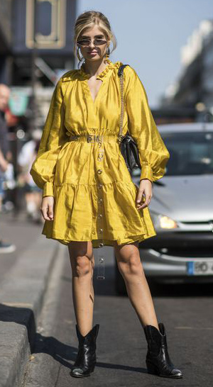 yellow-dress-peasant-black-shoe-booties-cowboy-sun-blonde-fall-winter-lunch.jpg