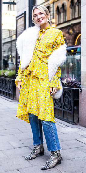 yellow-dress-peasant-print-layer-jeans-blonde-white-scarf-fur-stole-gray-shoe-booties-snakeskin-fall-winter-lunch.jpg