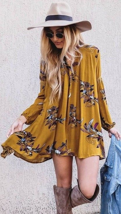 yellow-dress-peasant-swing-print-blonde-hat-sun-tan-shoe-boots-howtowear-fashion-fall-winter-lunch.jpg