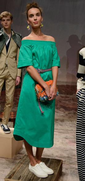 green-emerald-dress-white-shoe-sneakers-earrings-bun-orange-bag-clutch-peasant-belt-spring-summer-jcrew-midi-hairr-lunch.jpg