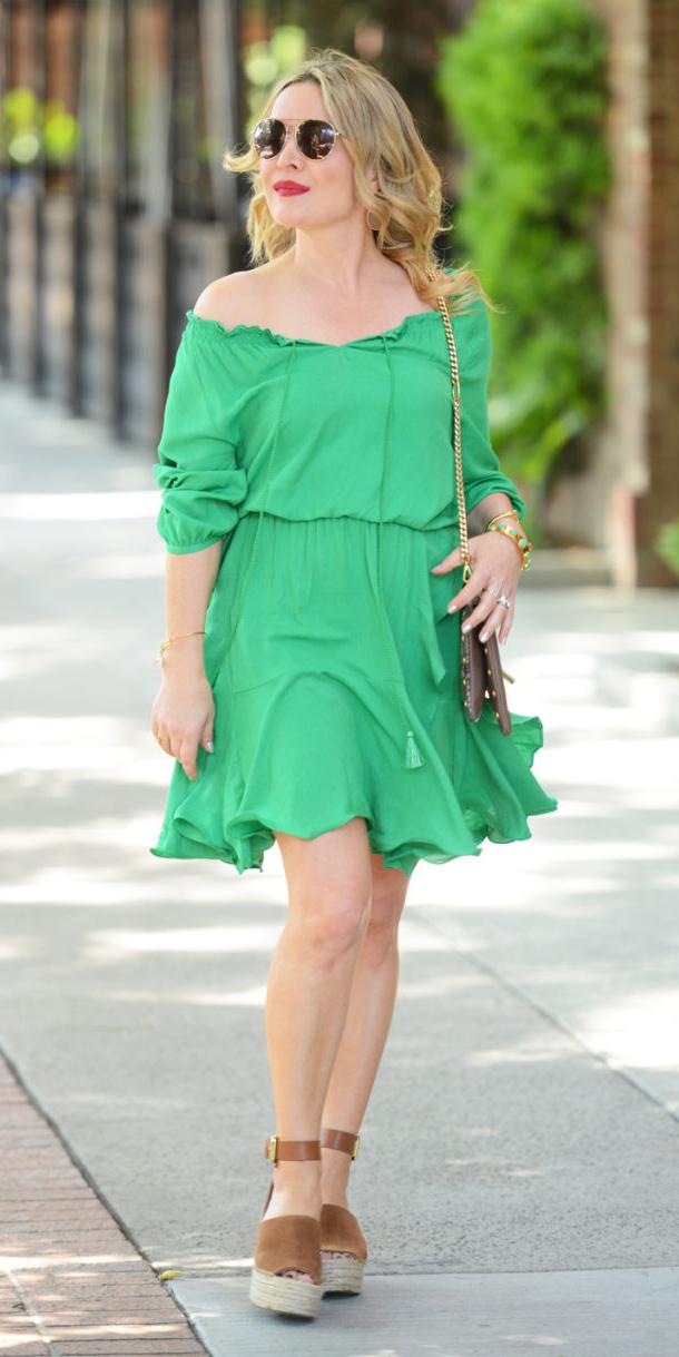 green-emerald-dress-peasant-blonde-sun-cognac-shoe-sandalw-spring-summer-weekend.jpg