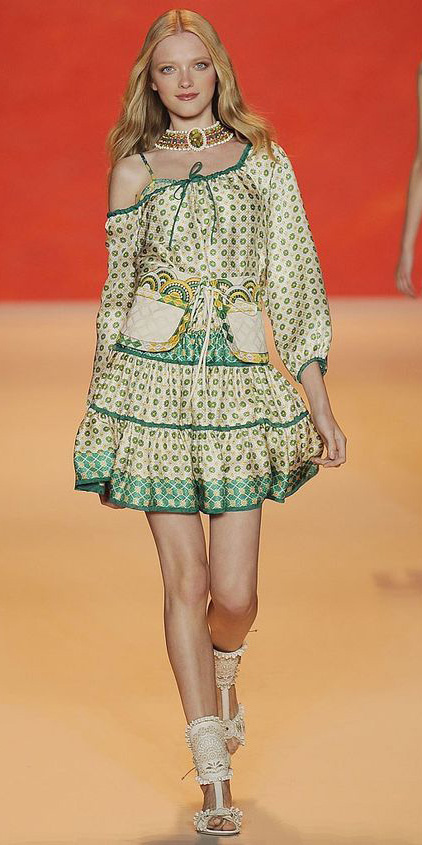 yellow-dress-peasant-blonde-necklace-collar-white-shoe-sandalh-print-mini-green-emerald-dress-spring-summer-dinner.jpg