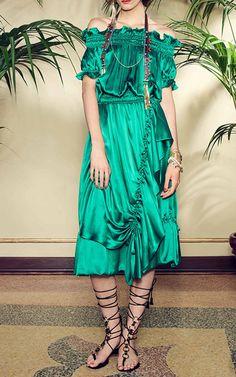 green-emerald-dress-peasant-offshoulder-silk-black-shoe-sandals-spring-summer-lunch.jpg