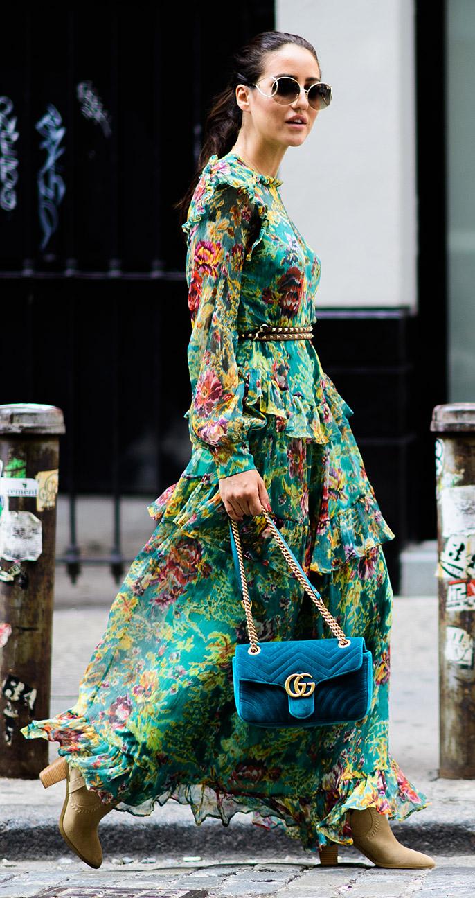 green-emerald-dress-peasant-maxi-floral-print-skinny-belt-blue-bag-hairr-pony-sun-tan-shoe-booties-fall-winter-lunch.jpg