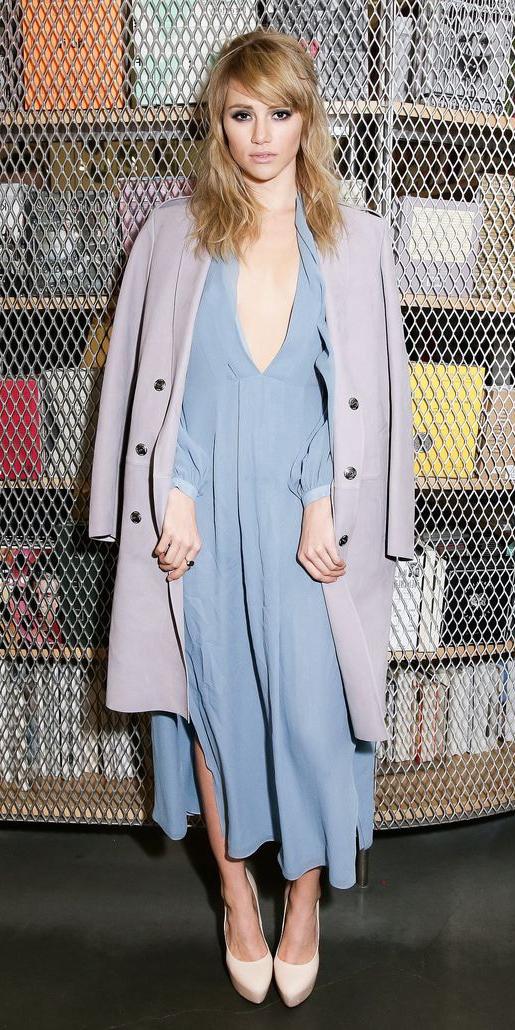 sukiwaterhouse-blue-light-dress-peasant-midi-blonde-purple-light-jacket-coat-white-shoe-pumps-pastel-fall-winter-dinner.jpg
