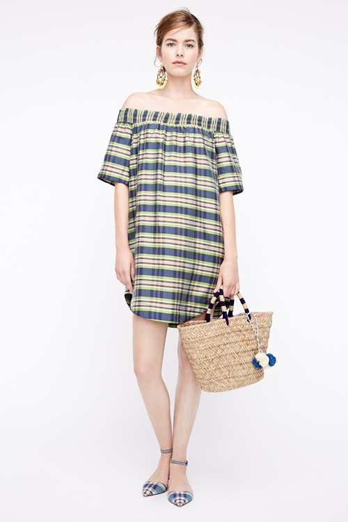 blue-med-dress-zprint-stripe-blue-shoe-flats-tan-bag-tote-earrings-bun-offshoulder-peasant-wear-style-fashion-spring-summer-jcrew-hairr-lunch.jpg