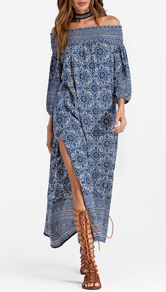 blue-med-dress-peasant-midi-offshoulder-choker-hairr-cognac-shoe-sandals-gladiators-print-spring-summer-lunch.jpg