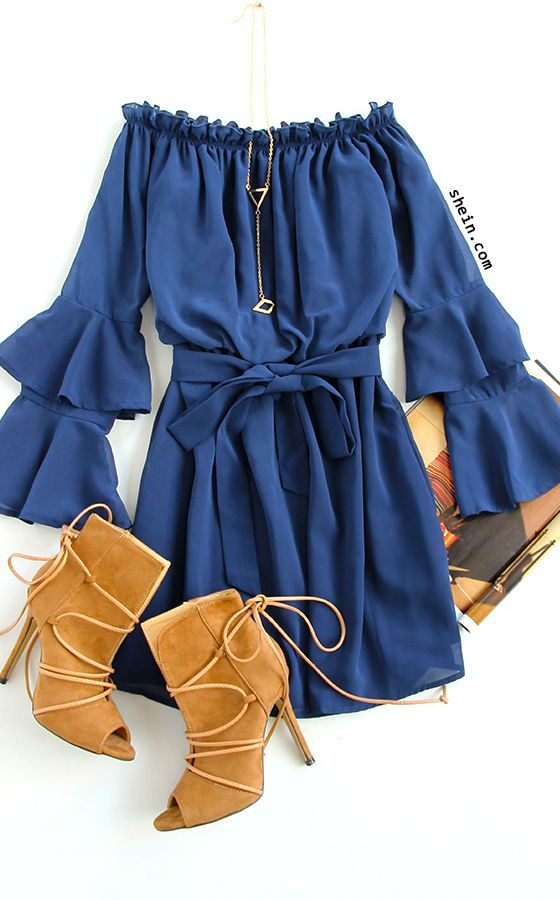 blue-med-dress-peasant-offshoulder-cognac-shoe-booties-necklace-pend-spring-summer-dinner.jpg