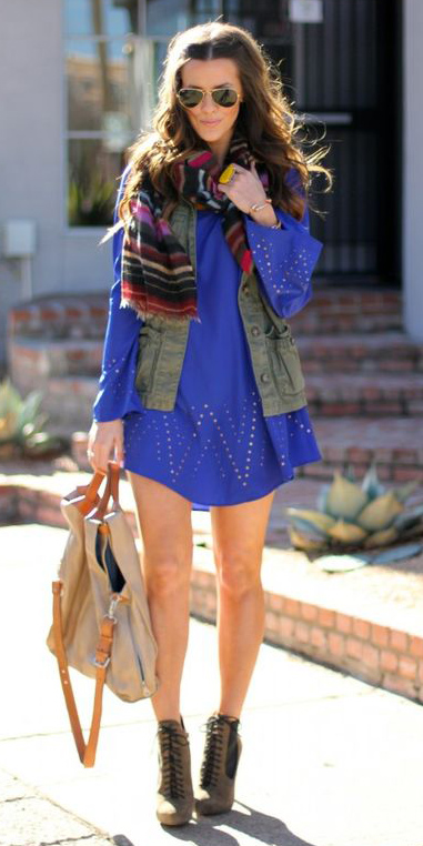 blue-med-dress-peasant-mini-cobalt-green-olive-vest-utility-burgundy-scarf-stripe-hairr-sun-tan-bag-green-olive-shoe-booties-fall-winter-lunch.jpg