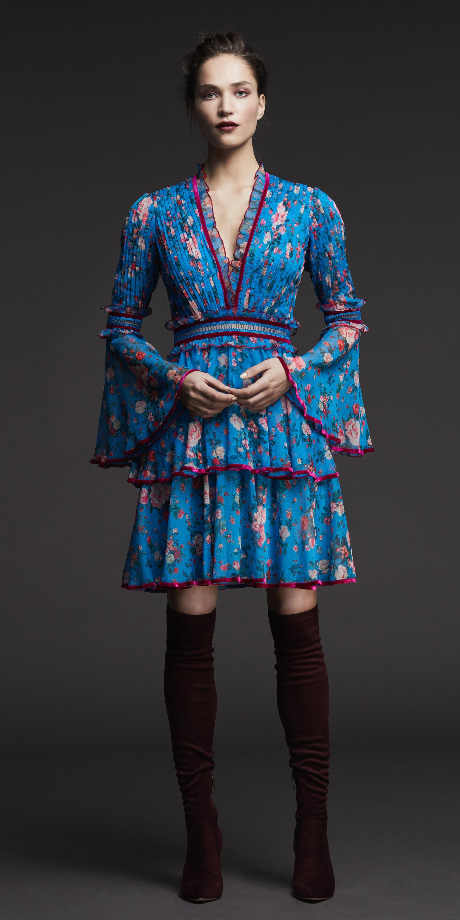 blue-med-dress-peasant-print-bun-hairr-burgundy-shoe-boots-otk-fall-winter-dinner.jpg