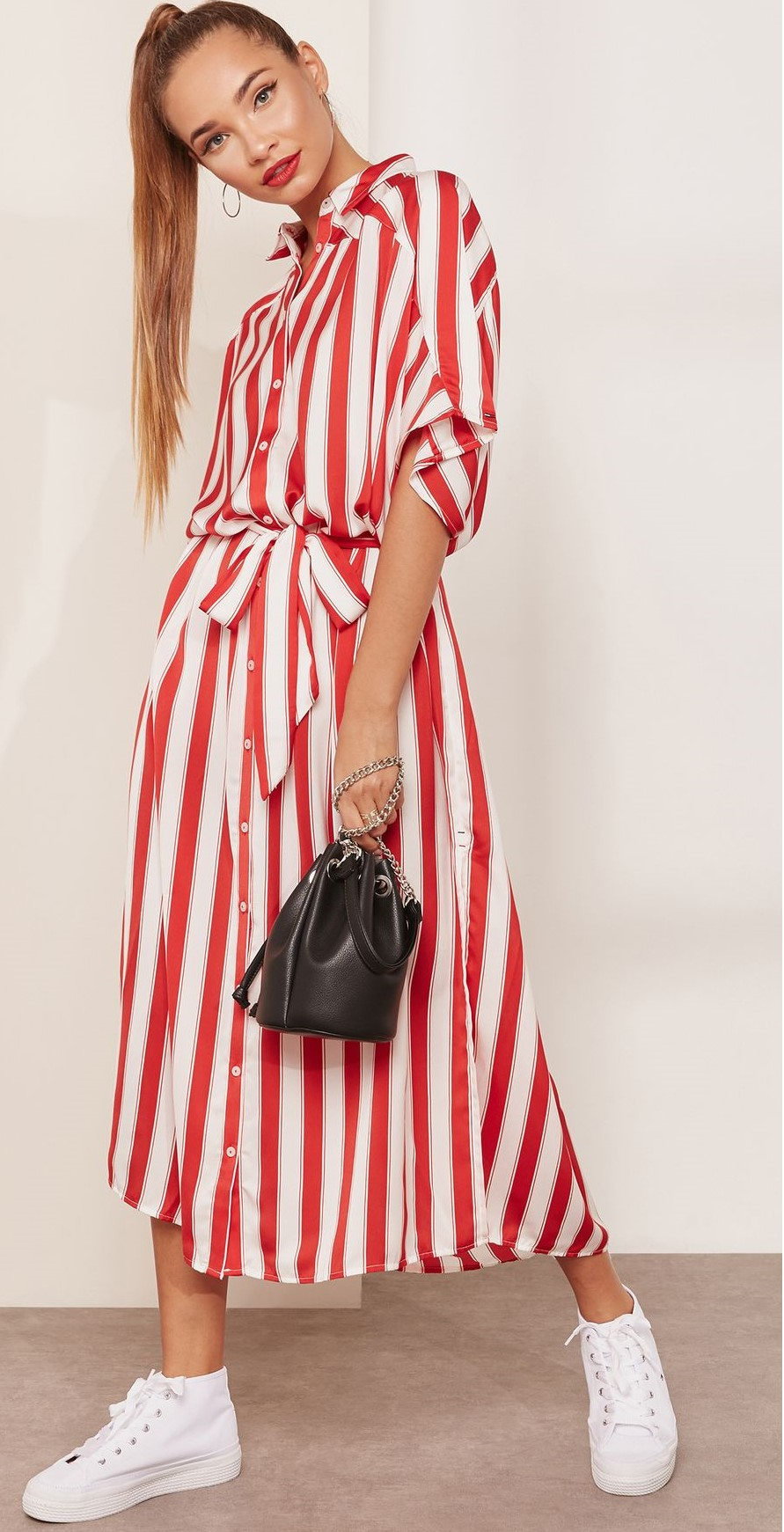 red dress white shoes Cherry red shirt dresses | HOWTOWEAR Fashion