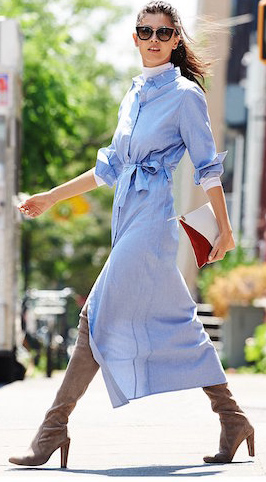 blue-light-dress-shirt-layer-white-tee-turtleneck-brun-sun-pony-tan-shoe-boots-fall-winter-lunch.jpg