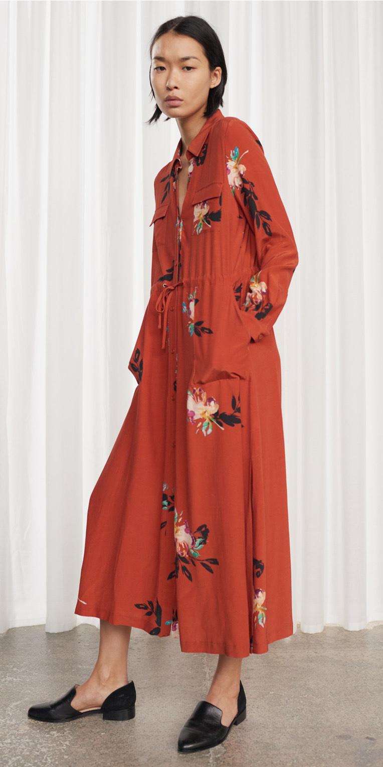 orange-dress-shirt-midi-floral-print-brun-black-shoe-flats-spring-summer-lunch.jpg