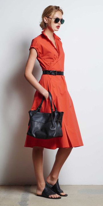 orange-dress-shirt-wrap-belt-black-bag-black-shoe-sandals-bun-blonde-sun-spring-summer-weekend.jpg