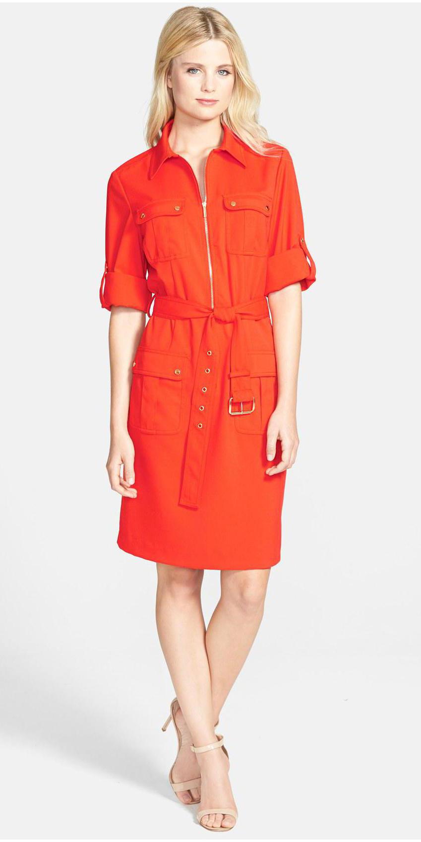 orange-dress-shirt-tan-shoe-sandalh-blonde-spring-summer-work.jpg