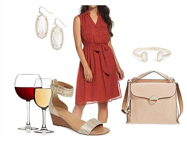 orange-dress-shirt-earrings-tan-shoe-sandalw-tan-bag-bracelet-spring-summer-dinner.jpg