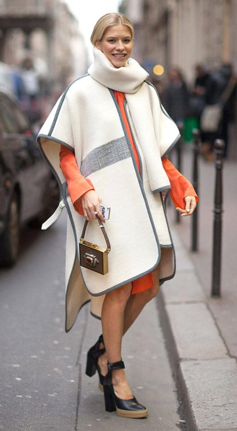 orange-dress-shirt-white-cardiganl-poncho-black-shoe-pumps-blonde-fall-winter-dinner.jpg