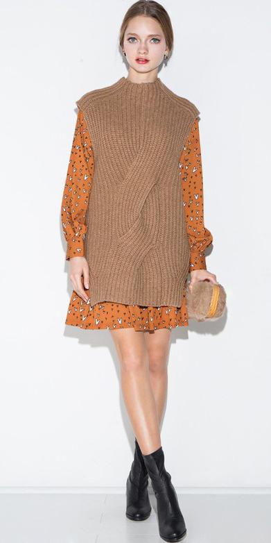 orange-dress-mini-shirt-layer-tan-sweater-sleeveless-black-shoe-booties-blonde-fall-winter-lunch.jpg