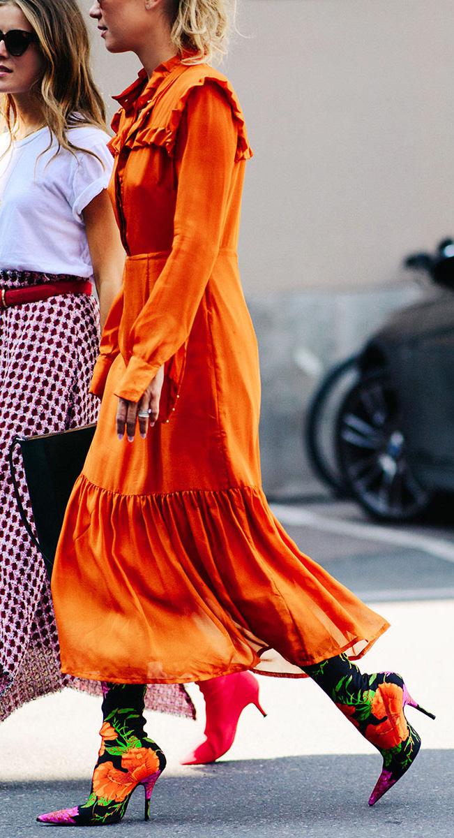 orange-dress-midi-shirt-peasant-orange-shoe-boots-floral-print-blonde-fall-winter-lunch.jpg