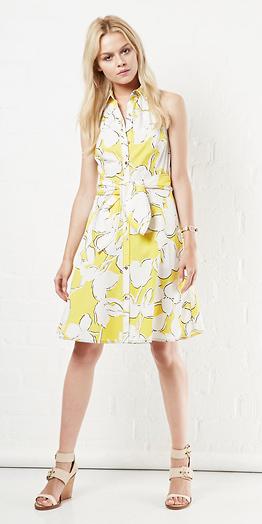 yellow-dress-shirt-print-blonde-tan-shoe-sandalw-spring-summer-weekend.jpg