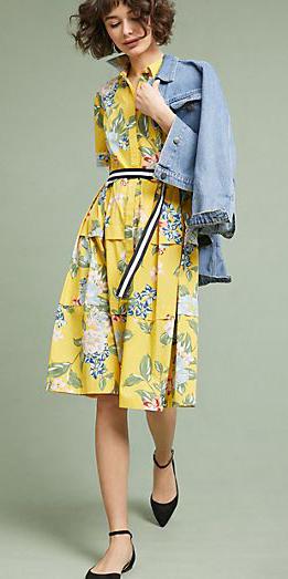 yellow-dress-floral-print-shirt-belt-black-shoe-flats-brun-bob-blue-light-jacket-jean-spring-summer-lunch.jpg