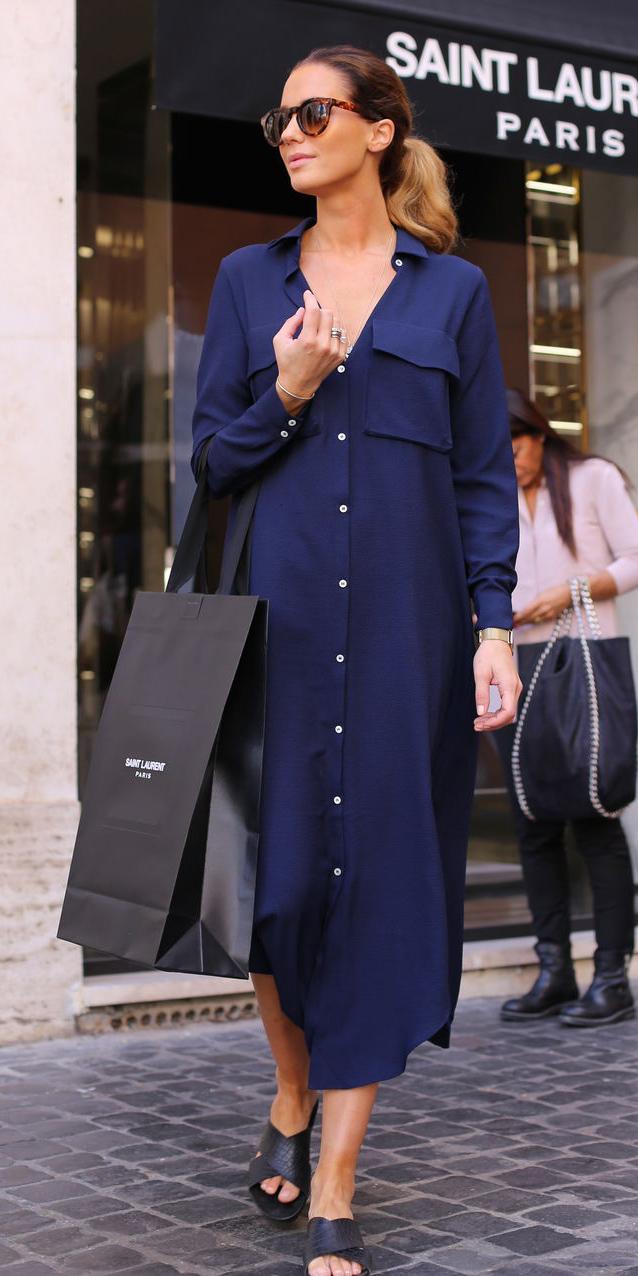 blue-navy-dress-shirt-sun-pony-hairr-black-shoe-sandals-spring-summer-weekend.jpg