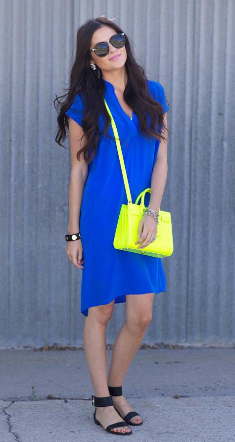 blue-navy-dress-shirt-yellow-bag-neon-black-shoe-sandals-studs-sun-bracelet-cobalt-howtowear-fashion-style-outfit-spring-summer-brun-weekend.jpg