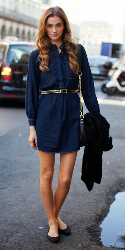 blue-navy-dress-black-shoe-flats-black-bag-shirt-denim-wear-style-fashion-spring-summer-skinny-belt-office-outfit-hairr-work.jpg