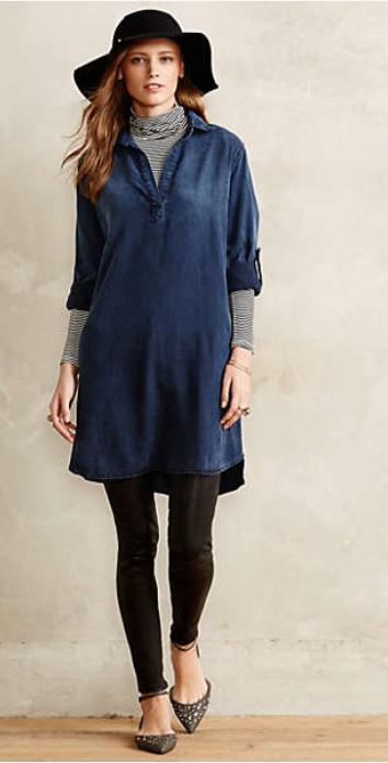 blue-navy-dress-grayl-tee-gray-shoe-flats-black-leggings-pants-shirt-chambray-turtleneck-wear-style-fashion-fall-winter-hat-hairr-lunch.jpg